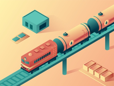 Oil transportation isometry railway carriage delivery train design oil transportation 3d isometric design isometric vector illustration