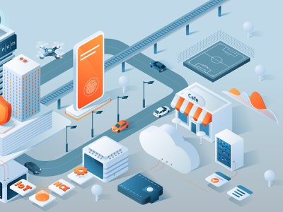 Isometric illustration telephone bank iot transport payment digital card poster pay app 3d ux ui isometric design business isometric flat vector illustration