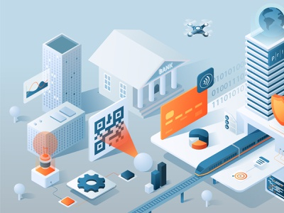 Isometric illustration nfc qrcode transport payment walet iot digital card bank app 3d ux ui isometric design business isometric flat vector design illustration
