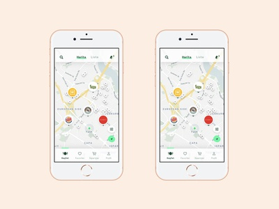 Food Delivery App Map View mobile application navigation notification nav tab discover list skin pin map delivery food