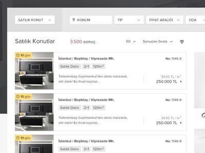 RealEstate Advert Listing // Redesign dropdown emlakdevri lists time price form thumbnail