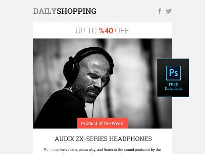 Free Shopping Newsletter Design PSD headphones newsletter e-commerce template free psd shop shopping sound music