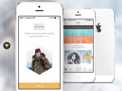 Incoming shopping application for Sketch app: Storex storex application store shop shopping template iphone mobile ecommerce free