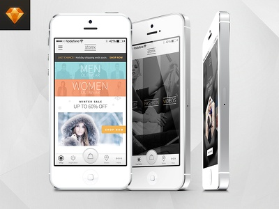 Free Shopping Based Mobile Application: Storex storex ecommerce iphone mobile fashion store shop free download template sketch app