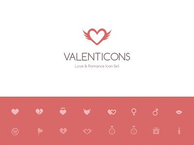Valenticons Love & Romance Icon Set sketch valentines love romance icon heart angel female male sign baloon kiss