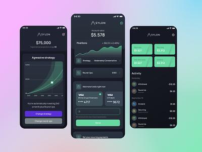 Sylon finance app design clean daily ui financeapp investmentapp investments wallet e-wallet homescreen fintech finance