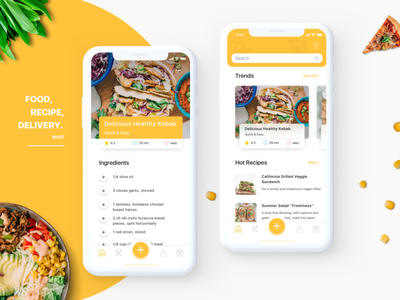 Recipe App Design Concept tasty yummy dish interface ui ux food delicious cooking recipe app