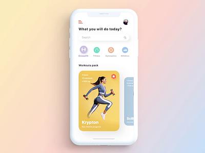 Workout App Concept Animation kite colorist design app sports clean interface animation ux ui fancy