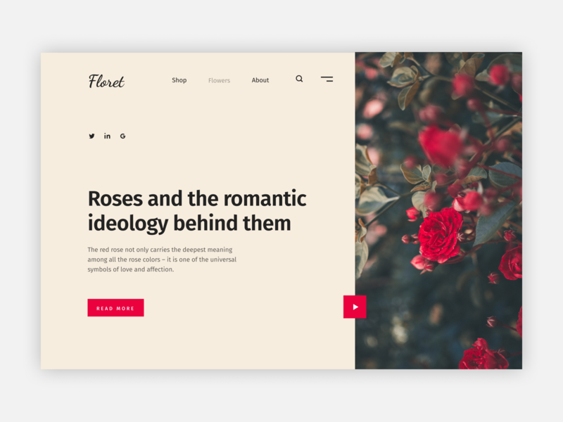 Flower web-page UI colour practicing dailyui website font video layout whitespace roses flower custom simplicity ui web clean digital ui-ux design minimal figma design