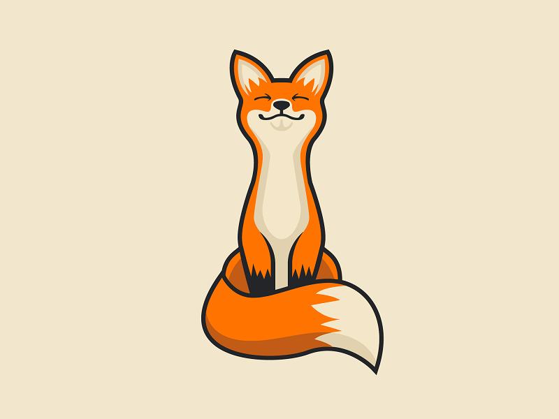 Happy Fox design graphic mark branding illustrator vector adobe illustration logo animal fox happy
