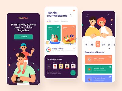 Family Planner App illustrations calendar planner family planning events mobile app illustration ui clean