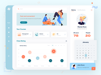 Online Courses Dashboard clean minimal education students learning app courses ui illustration dashboard