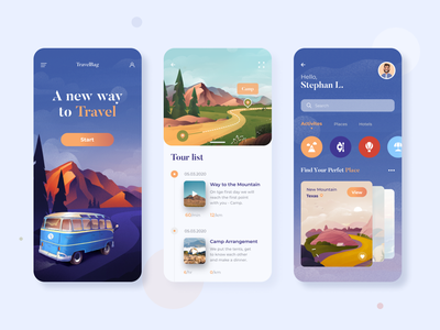 Travel App mobile app travel app traveling tourism tour app mobile ui illustration afterglow clean