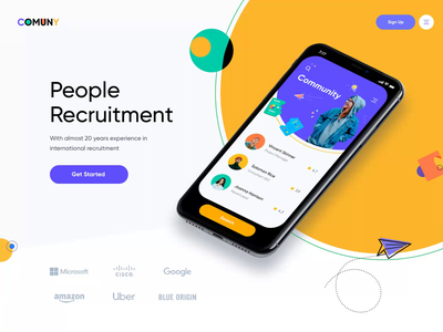 Communication Landing Page job search job recruiting recruiter people website landing minimal app ui illustration afterglow clean