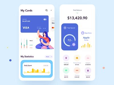 Banking App money app statistics payment app payments bank banking app illustration mobile minimal app clean