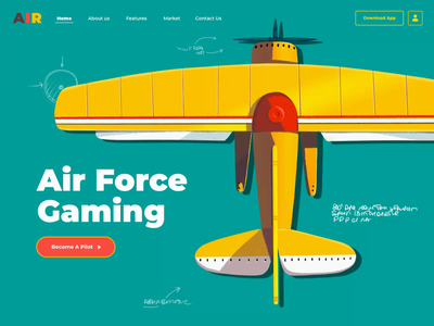 Air Force Landing Page homepage landing page pilot contrast illustrations airplane air gaming games game animation ui illustration afterglow clean
