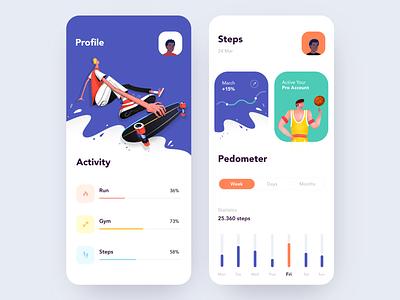 Activity Tracker App health run dashboard clean illustration minimal mobile app mobile app sport activity tracker