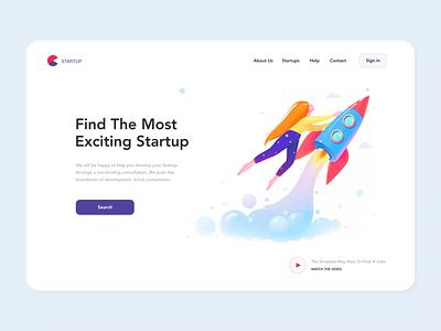 Startup Landing Page investment finder startup animation mobile app illustrations homepage website landing app ui illustration clean