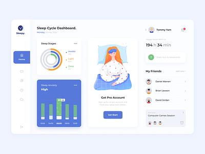 Sleep Cycle Dashboard health minimal activity sleep dashboard app illustration clean
