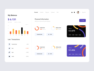 Banking Dashboard money pay transactions banking bank dashboard mobile minimal app ui clean