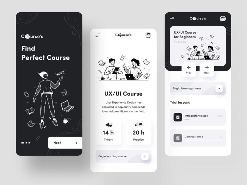 Courses App mobile app illustrations brand identity branding social app education app education course app courses mobile app minimal ui illustration clean