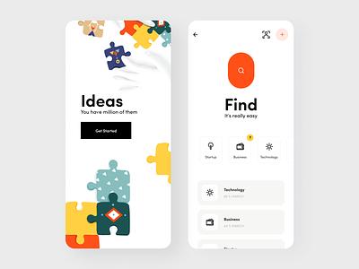 Puzzle App startup technology creative business idea mobile app mobile app minimal ui illustration afterglow clean