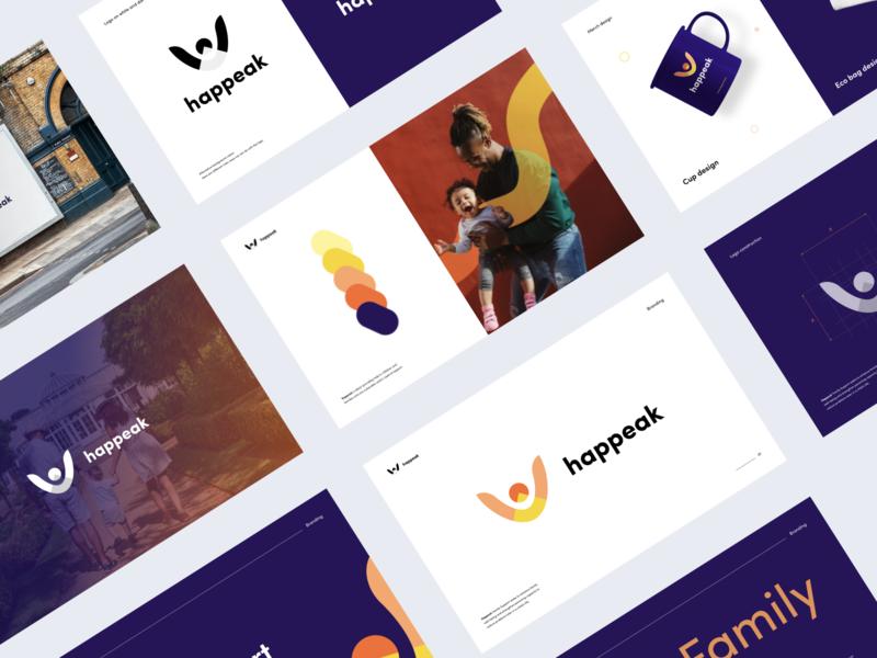 Happeak Branding family support brand identity branding logo design website landing minimal illustration clean