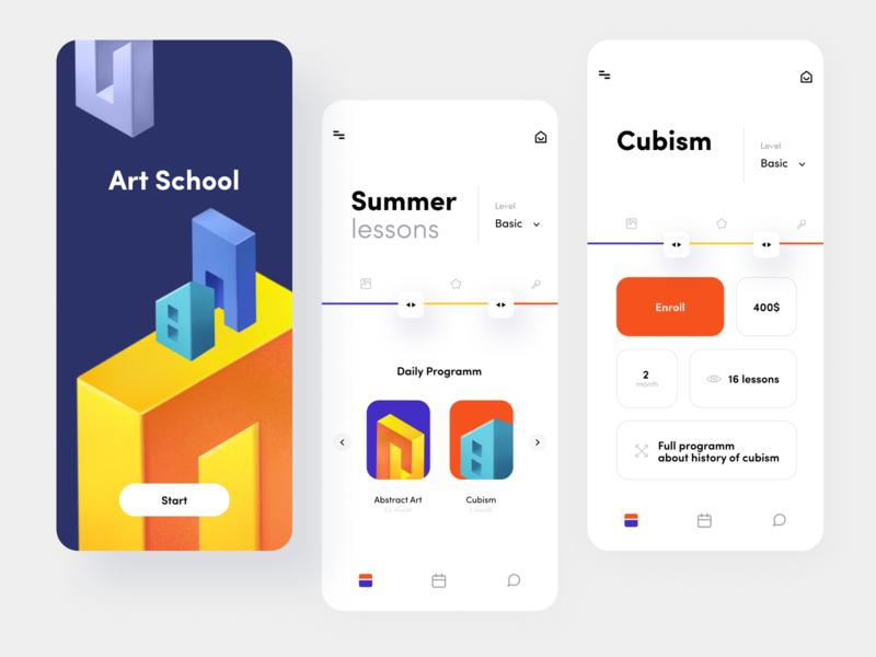 Art School Lessons App school app education app lessons mobile app ui illustration branding mobile app minimal clean