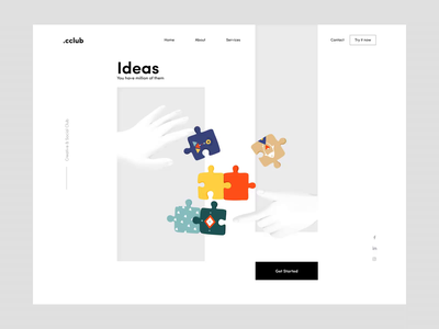 Club Landing Page buttons contrast creative startup business mobile app homepage mobile website landing app minimal illustration afterglow clean
