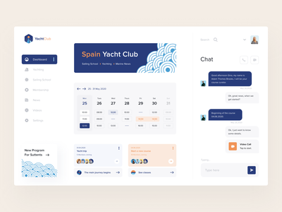 Spain Yacht Club Dashboard booking service clubbing see collaboration yacht club dashboard website app minimal ui afterglow clean