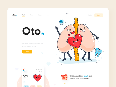 Oto Clinic Landing Page care stay safe landing page medicine doctors clinic healthcare health health app mobile app website landing illustration afterglow clean
