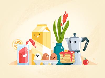 Breakfast Illustration eat funny food breakfast colors branding illustration afterglow clean