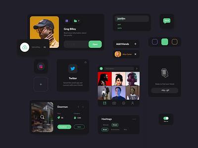 Animated UI Components For Social Platform branding media kit black  white social app platform social ui kit components elements dashboard mobile app minimal ui