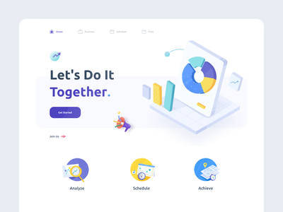 Analytics Landing Page app metrics startup statistics teamwork crm collaboration reports analitycs 3d illustrations dashboard website landing minimal ui illustration afterglow clean