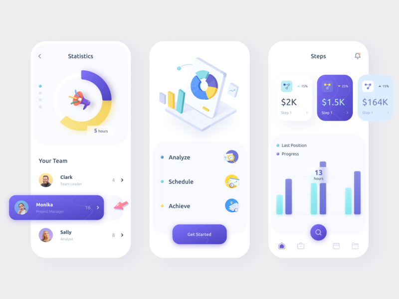 Analytics App 3d ilustration 3d icons analysis analytic teamwork team charts graphic ux funny style colorful mobile app minimal ui illustration afterglow clean