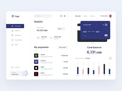 Tori Banking Dashboard statistic money transfer money app money transactions bank account payment app payments bank card bank app bank dashboard app minimal ui clean