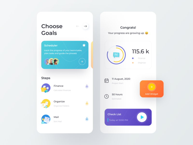 Goals App 3d app teamwork team widgets steps gradient chart graphics schedule mail organize design mobile app mobile clean minimal illustration