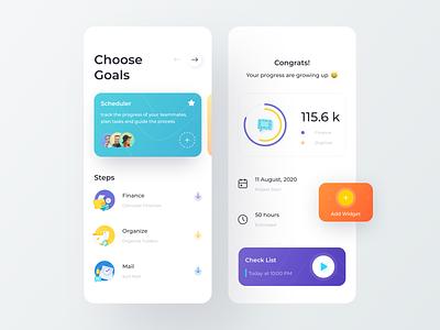 Goals App 3d app teamwork team widgets steps gradient chart graphics schedule mail organize design mobile app mobile clean minimal illustration