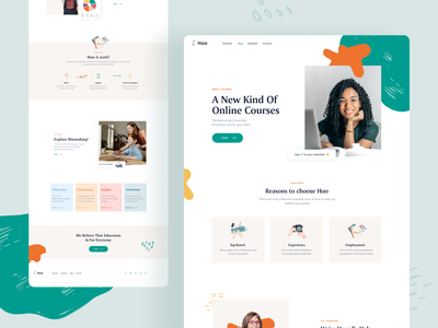 Landing Courses page colors ux ui layout interface courses typography branding logo design homepage website landing minimal illustration clean