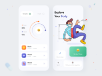 Health App body medical heartbeat status sleep switch heart emoji scanner chart statistics health color mobile app mobile app minimal ui illustration clean