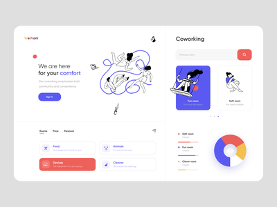 Co-working Dashboard admin panel ux company community searching teamwork team chart coworking branding design dashboard app minimal ui illustration clean