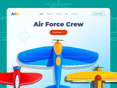 Air Force contrast air force crew game design game art game aircraft airplane air landing page website app landing illustrations illustration clean