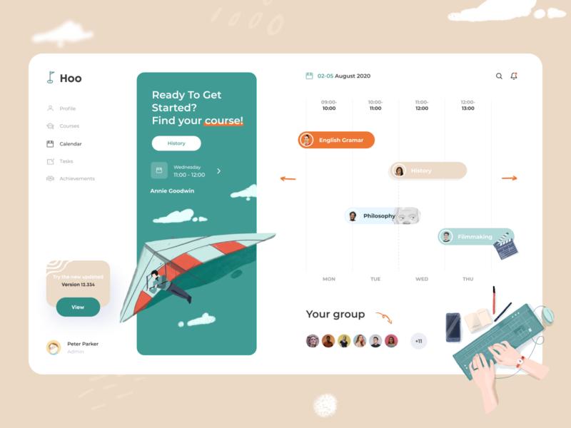 Courses Hoo Dashboard search lessons usability concept tasks social calendar language app courses ui ux branding design illustrations dashboard app minimal afterglow illustration clean