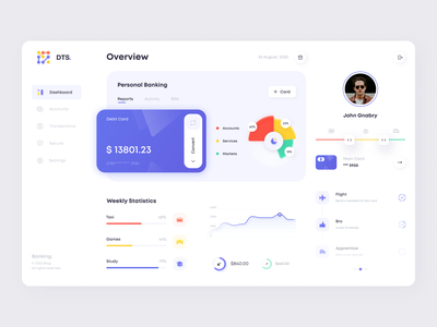 Banking Dashboard achievements money app admin panel information account service transaction chart graphic finance banking card statistic dashboard app minimal ux ui illustration clean