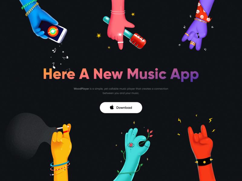 Music App app ios gradient music art music charachter hands vector dark ui color dark branding logo design minimal illustration clean