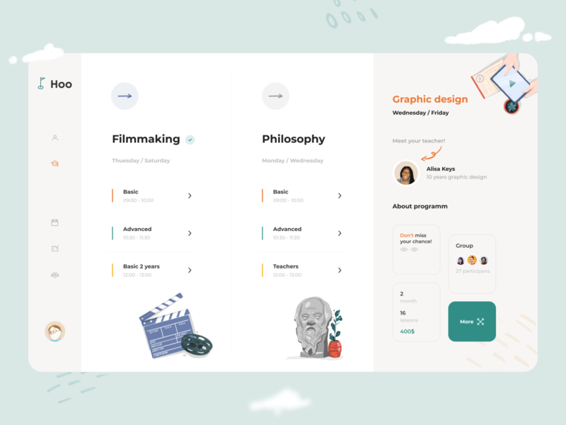 Courses Hoo Dashboard casestudy texture program web profile lessons task list social vector ux branding design app minimal ui clean illustration courses dashboad admin panel