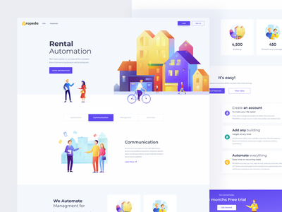 Propeda Landing icons identity social interface web landing page homepage mockup rental ux vector logo design branding website landing minimal ui illustration clean