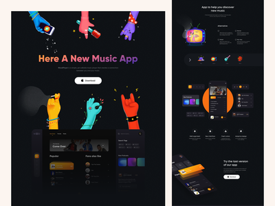 Music Landing download icons character colors dark interface ux ui mobile app design branding dashboard website mobile landing app illustration clean