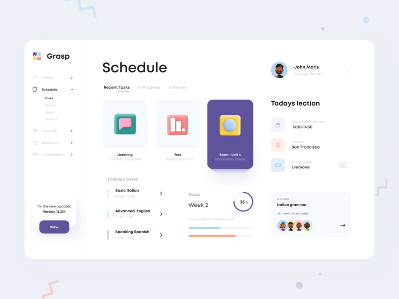 Courses Dashboard sections tasks planner schedule concept profile lessons class list courses logo design branding dashboard mobile app minimal ui illustration clean