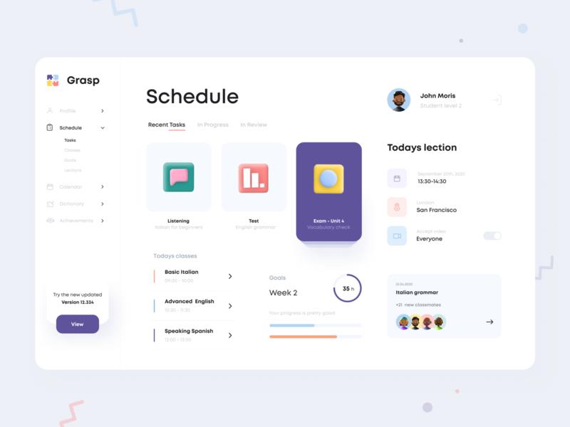 Courses Dashboard sections tasks planner schedule concept profile lessons class list courses logo design branding dashboard mobile app minimal ui illustration clean